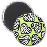 Green zebra hearts magnet magnet