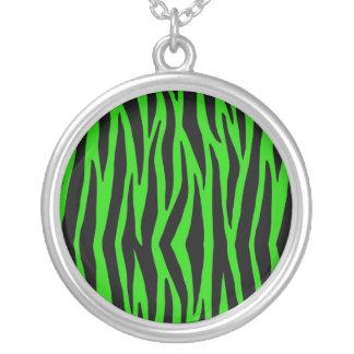 Green Zebra Round Pendant Necklace