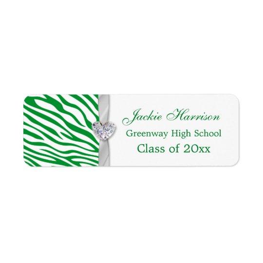 Green zebra pattern, ribbon Graduation label Return Address Label