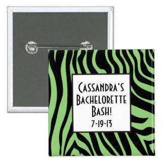 Green Zebra Print Bachelorette Button