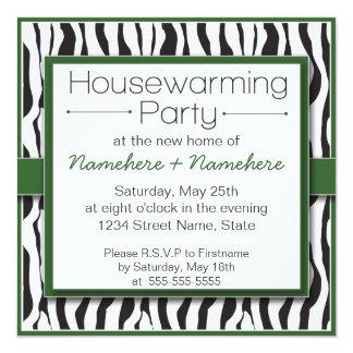 Green Zebra Print Housewarming Party Invitations