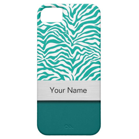 Green Zebra Stripe Monogram Smartphone Case