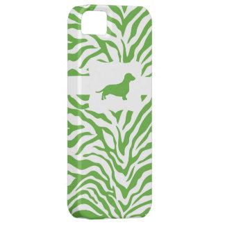 Green Zebra Stripe w/Dachshund iPhone 5 Covers