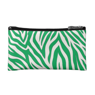 Green zebra striped cosmetic bag