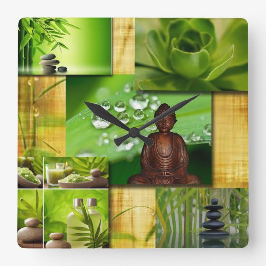 Green Zen & Buddha Serenity Collage Square Wall