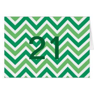 Green zig-zags-chevrons greeting card