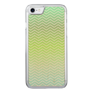 Green zigzag pattern carved iPhone 7 case