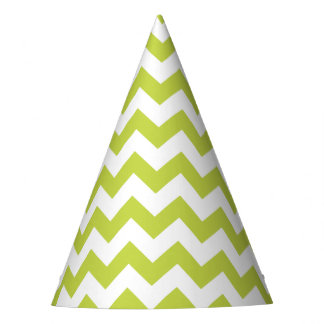 Green Zigzag Stripes Chevron Pattern Party Hat