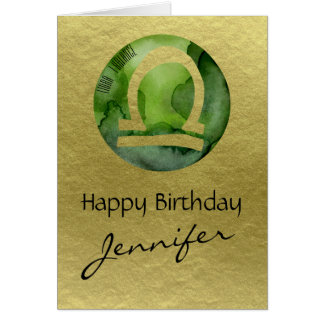 Green Zodiac Sign Libra on Gold Background Card