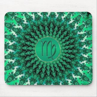Green Zodiac Sign Virgo Fractal Mandala Mouse Pads
