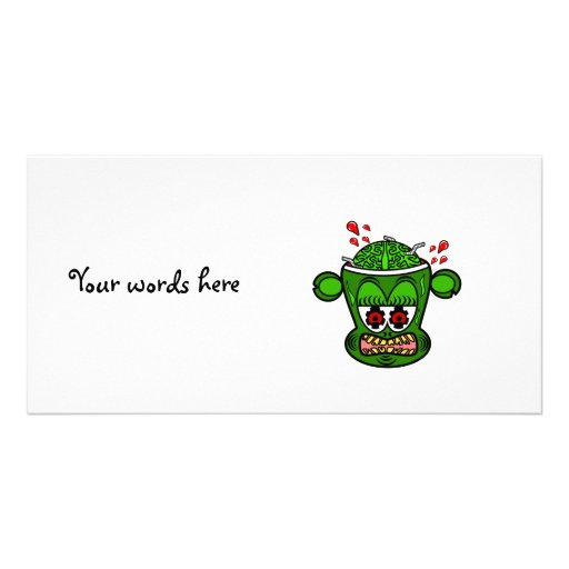 Green zombie monkey picture card