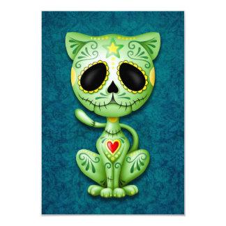Green Zombie Sugar Kitten on Blue Announcements
