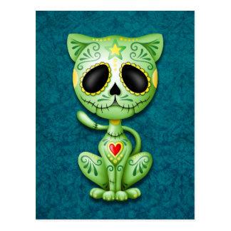 Green Zombie Sugar Kitten Postcard