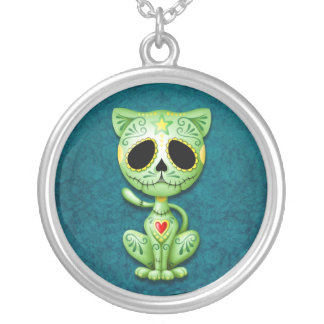 Green Zombie Sugar Kitten Silver Plated Necklace