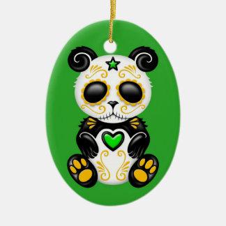 Green Zombie Sugar Panda Ceramic Oval Decoration