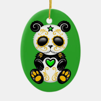 Green Zombie Sugar Panda Christmas Ornament