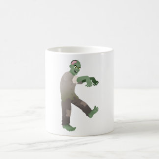 Green Zombie Walking Slowly with Arms Out in Front Basic White Mug
