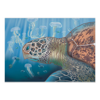 Greenback turtle and jellyfish poster
