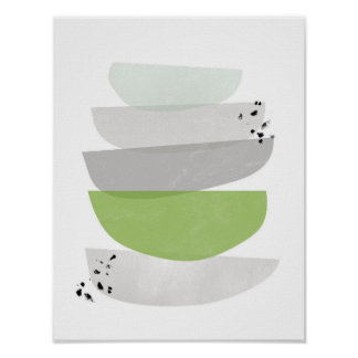 greenery abstract, minimalist poster print