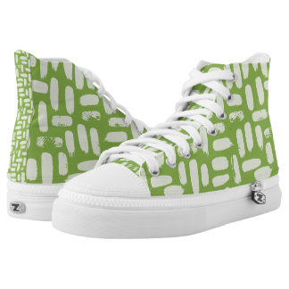 Greenery Abstract Spots Pattern High Tops