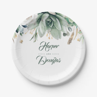 Greenery and Gold Elegant Garden Wedding Paper Plate