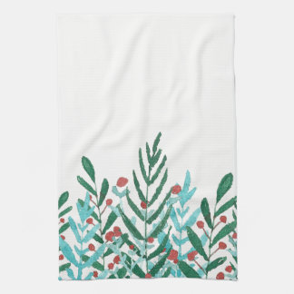 Greenery and holly, Christmas kitchen decor Tea Towel