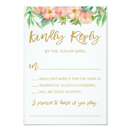 Greenery and Pink Floral Wreath Wedding RSVP Card