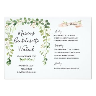 Greenery Bachelorette Weekend Itinerary Invitation