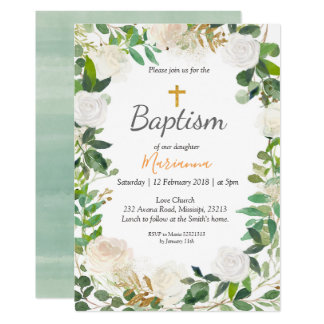 Greenery Baptism Invitation card