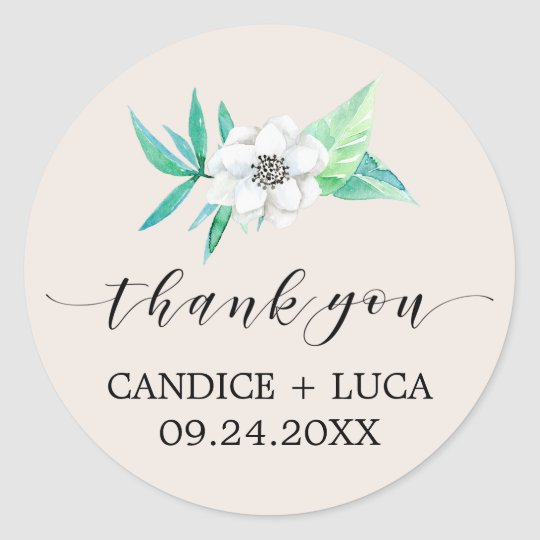Greenery Botanical Bouquet Thank You Wedding Classic Round