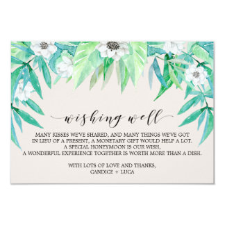 Greenery Botanical Wreath Wedding Wishing Well Card