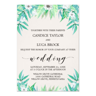 Greenery Botanical Wreath & White Flowers Wedding Card