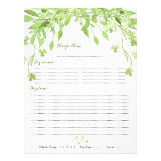 Greenery Clover Floral Binder Recipe Inserts Flyer