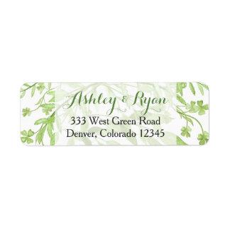 Greenery Clover Floral Wedding Address Label