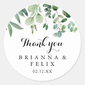 Greenery Eucalyptus Thank You Wedding Favor Classic Round Sticker