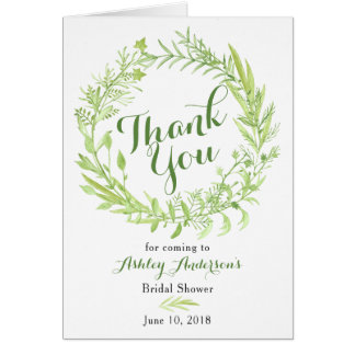 Greenery Floral Wreath Bridal Shower Thank You Card