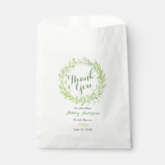 Greenery Floral Wreath Bridal Shower Thank You Favour Bags