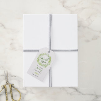 Greenery Floral Wreath Bridal Shower Thank You Gift Tags