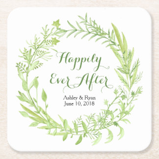 Greenery Floral Wreath Wedding Square Paper Coaster
