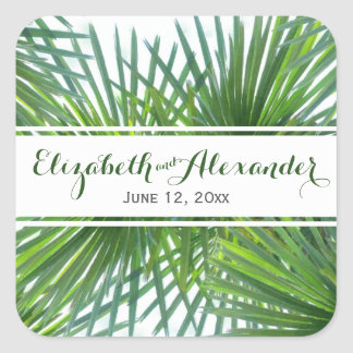 Greenery Foliage Names and Date Wedding Sticker
