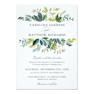 Greenery Green Branch Olive Wedding Invitation