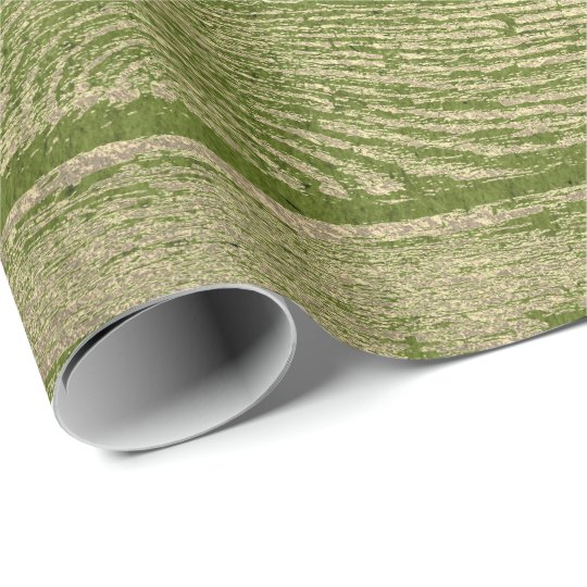 Greenery Green Gold Wood Shabby Foxier Wrapping Paper