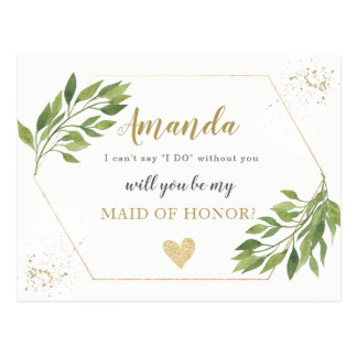 Greenery Maid of Honour or BRIDESMAID proposal Postcard