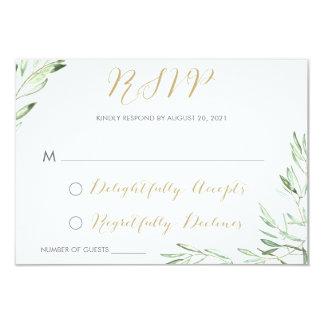 Greenery Olive Branch Modern Respond Card RSVP