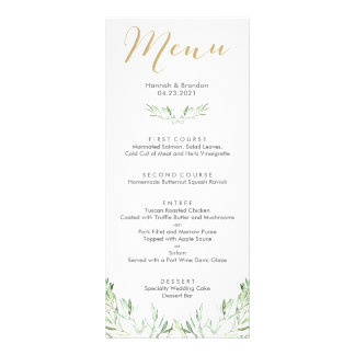 Greenery Olive Branch Wedding Menu