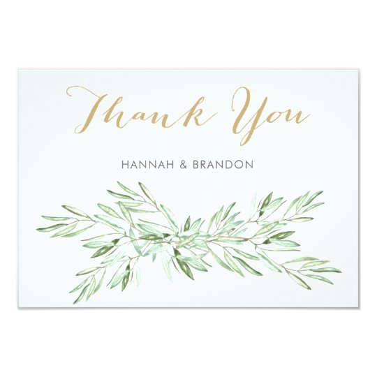 Greenery Olive Branch Wedding Thank You Card