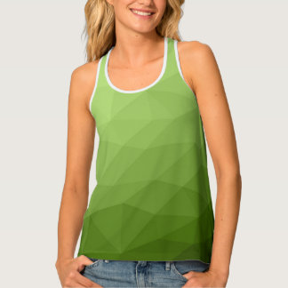 Greenery ombre gradient geometric mesh tank top