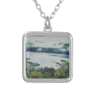Greenery on shore of a lake square pendant necklace