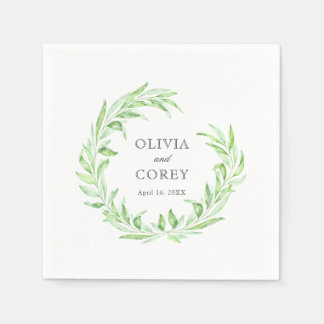 Greenery Open Laurel Wreath Wedding Disposable Serviettes