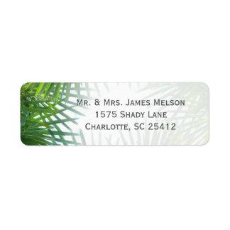 Greenery Palm Fronds Return Address Return Address Label